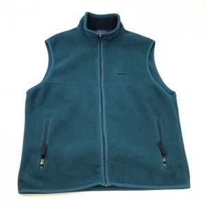 Patagonia Synchilla teal fleece vest made in USA
